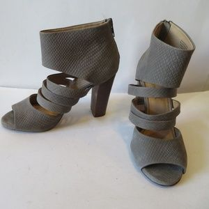 SPLENDID LEATHER TAUPE PEEP TOE HEEL SANDALS 7.5
